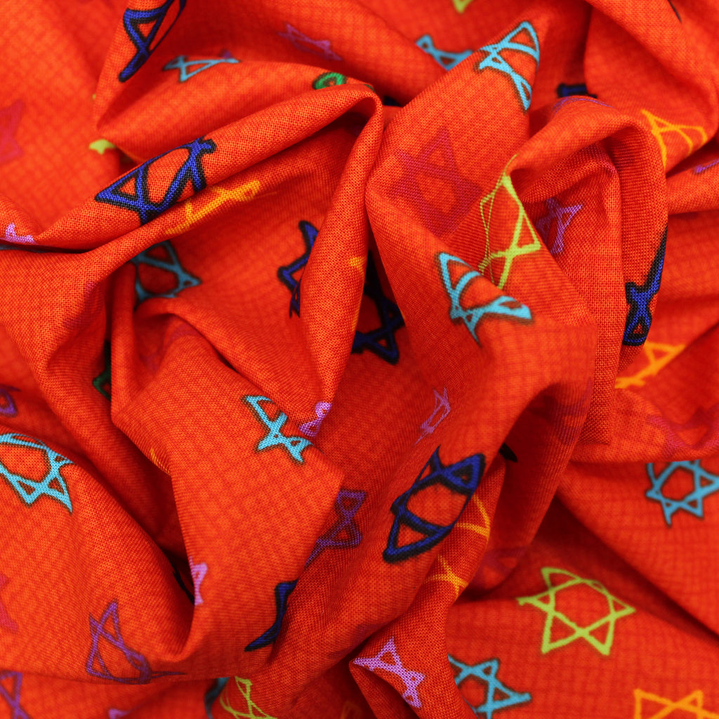 "100% Cotton 'Jewish Stars' 44"" Wide"