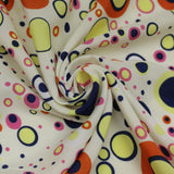 "100% Polyester Peachskin, Funky Circles, Approx. 60""(150cm) Wide"