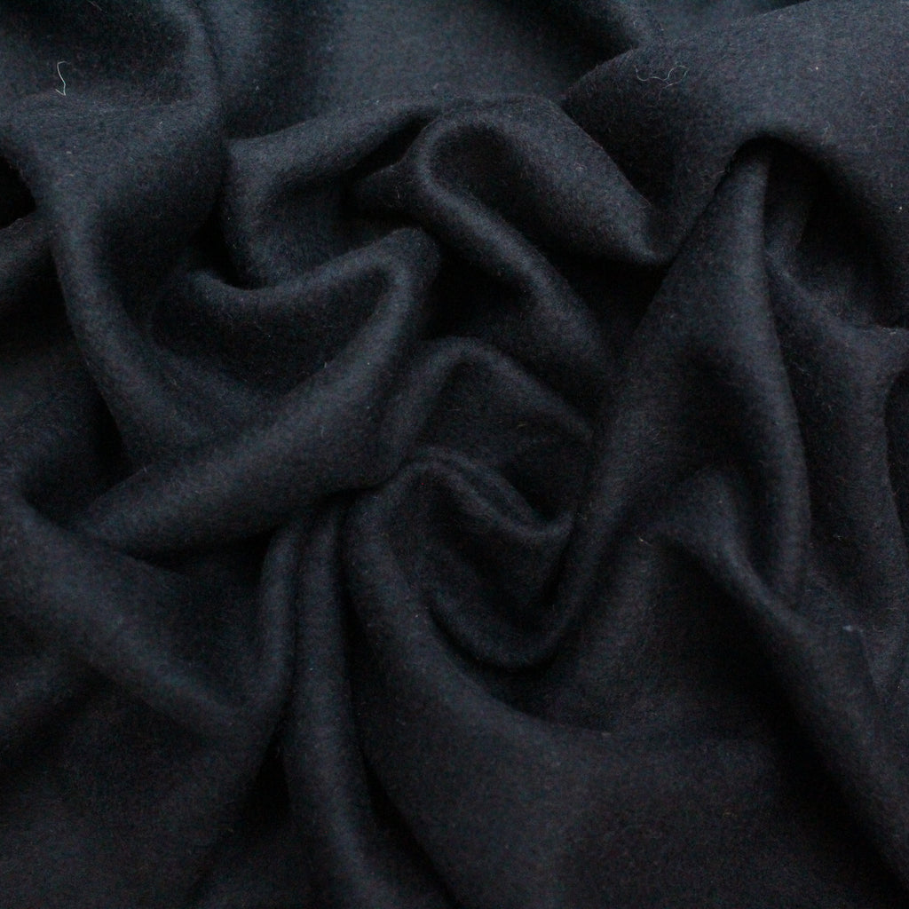 "3FOR10 Wool Blend Fabric 'Plain Black Wool' 60"" Wide"