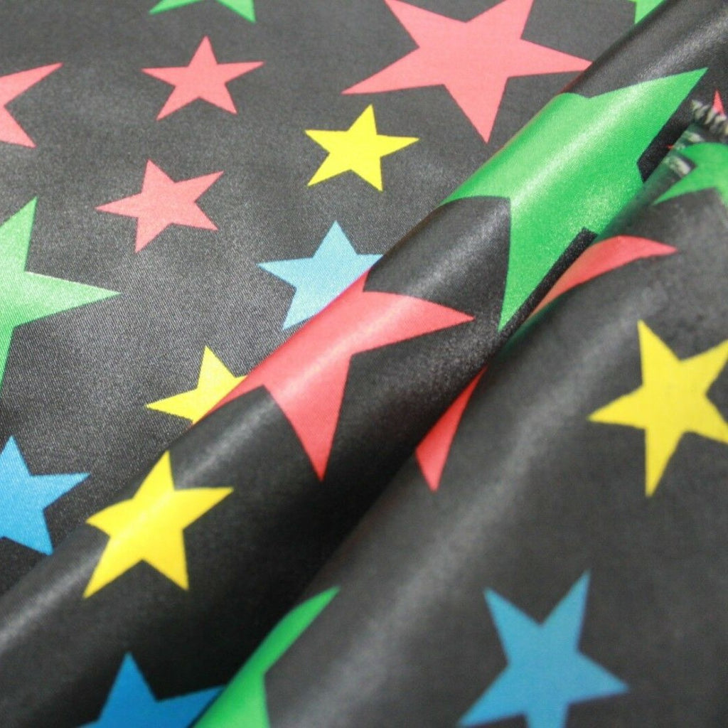 "Stars Printed Polyester Satin Liquid Fabric Approx. 44"" (112cm) Wide"