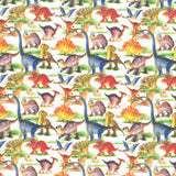 "100% Quilting Cotton 'Watercolour Dinos' - 60"" Wide"