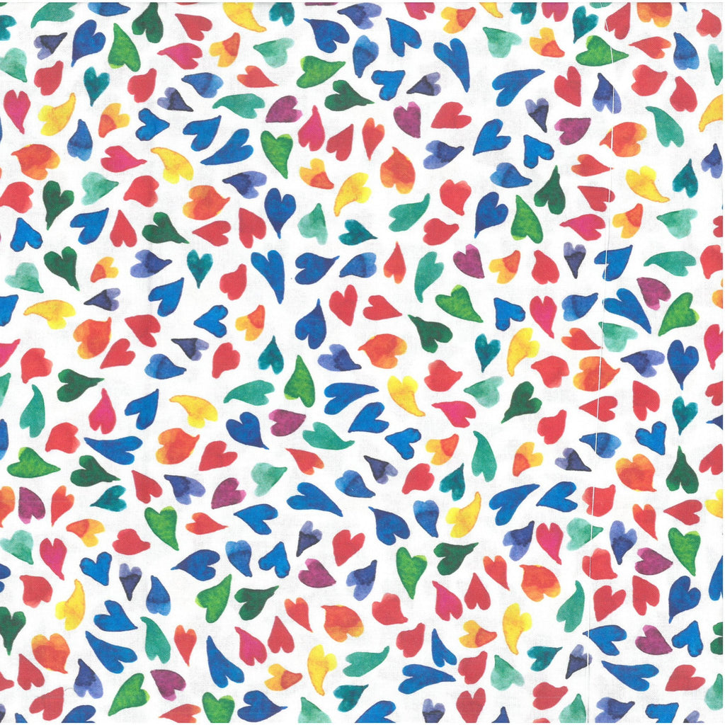 "100% Quilting Cotton 'Funky Hearts' - 60"" Wide"