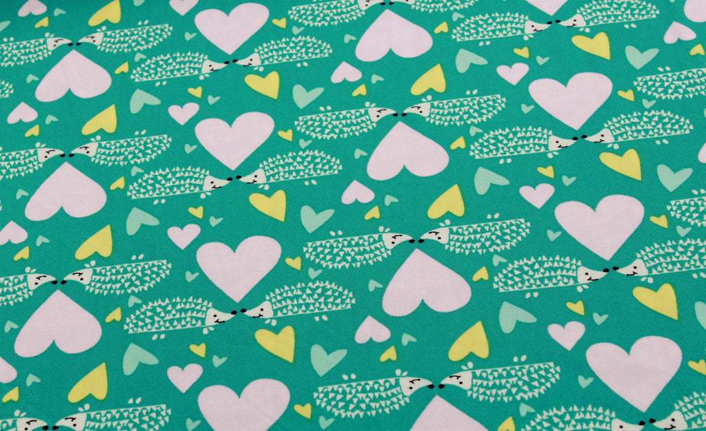 "Hedgehogs & Hearts, Brushed Jersey 60"" Wide"