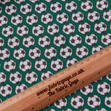 100% Premium Quilting Cotton, Football Range - Green Footballs FF227.3