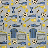100% Premium Quilting Cotton, Football Range - Blue Goal FF226.1