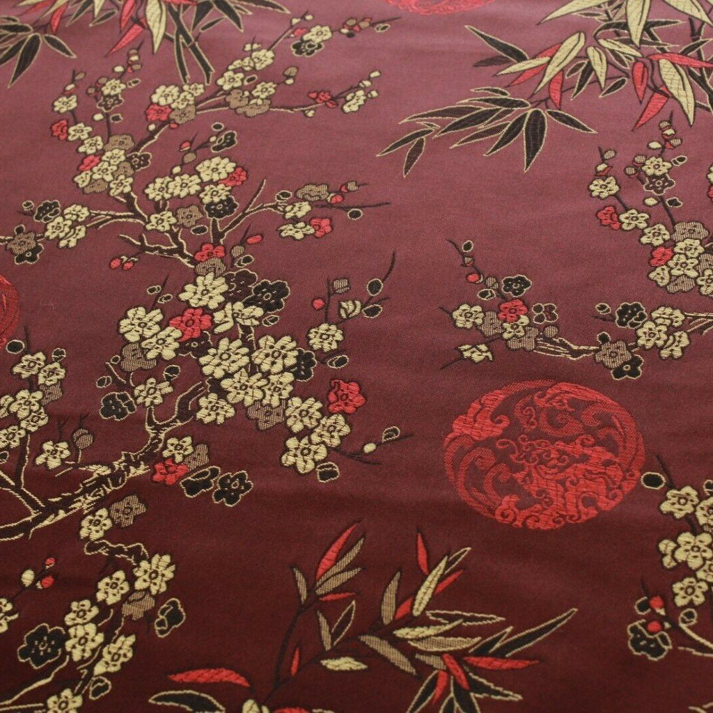 Chinese Brocade With Silk Satin Cherry Blossom Tropical Embroidery Brown