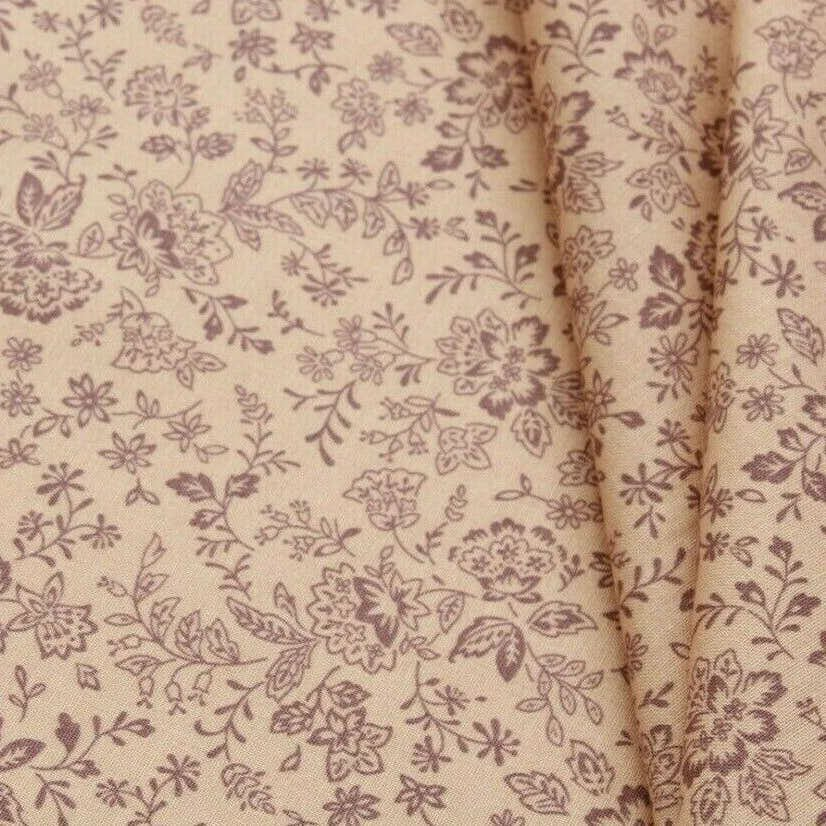 "Brown Floral Leaves/Vines Print Pastels, 100% Premium Quilting Cotton Fabric, 44"" Wide (111cm), 140GSM"
