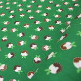 Premium Printed Christmas Polycotton Christmas Pudding Green
