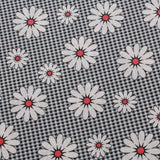 Small Check Red Daisy Gingham Poplin