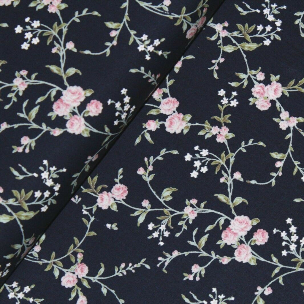 Small Stem Rose Poplin Navy