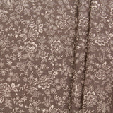 "Dark Grey Floral Leaves/Vines Print Pastels, 100% Premium Quilting Cotton Fabric, 44"" Wide (111cm), 140GSM"