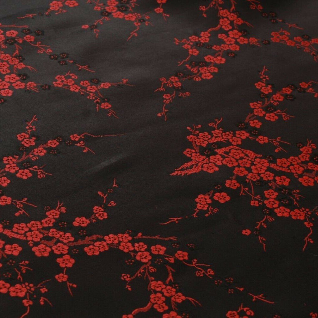 Chinese Brocade With Silk Satin Cherry Blossom Embroidery Black