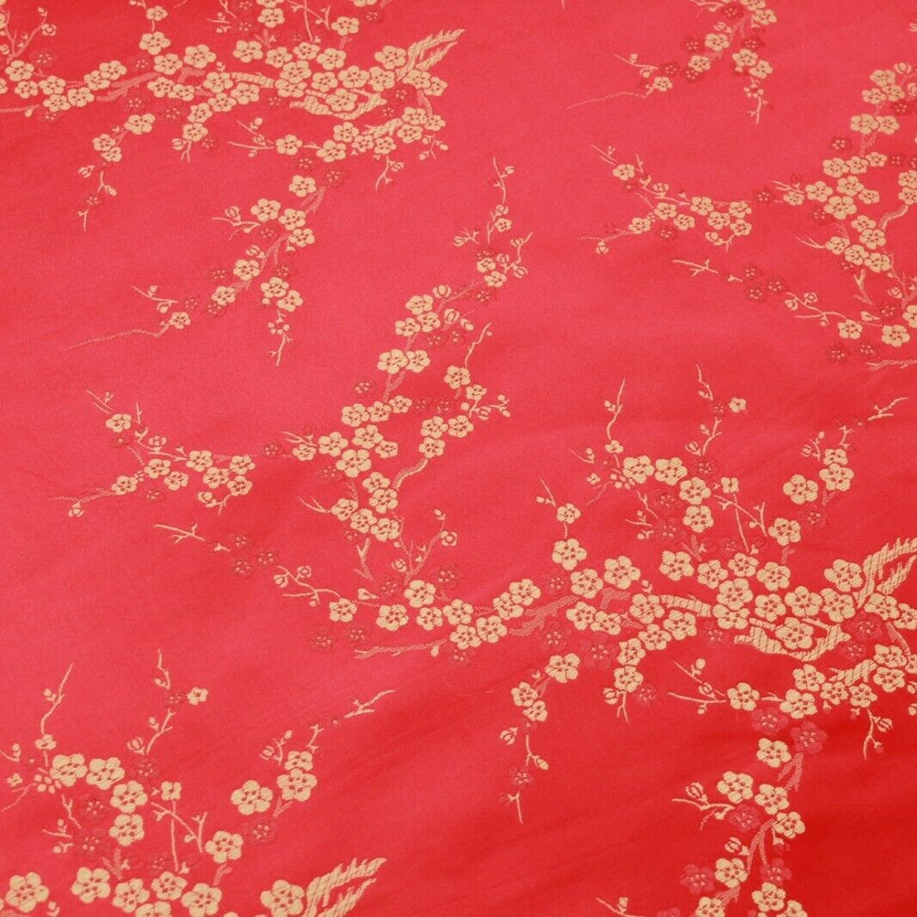 Chinese Brocade With Silk Satin Cherry Blossom Embroidery