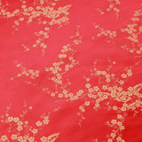 Chinese Brocade With Silk Satin Cherry Blossom Embroidery Red