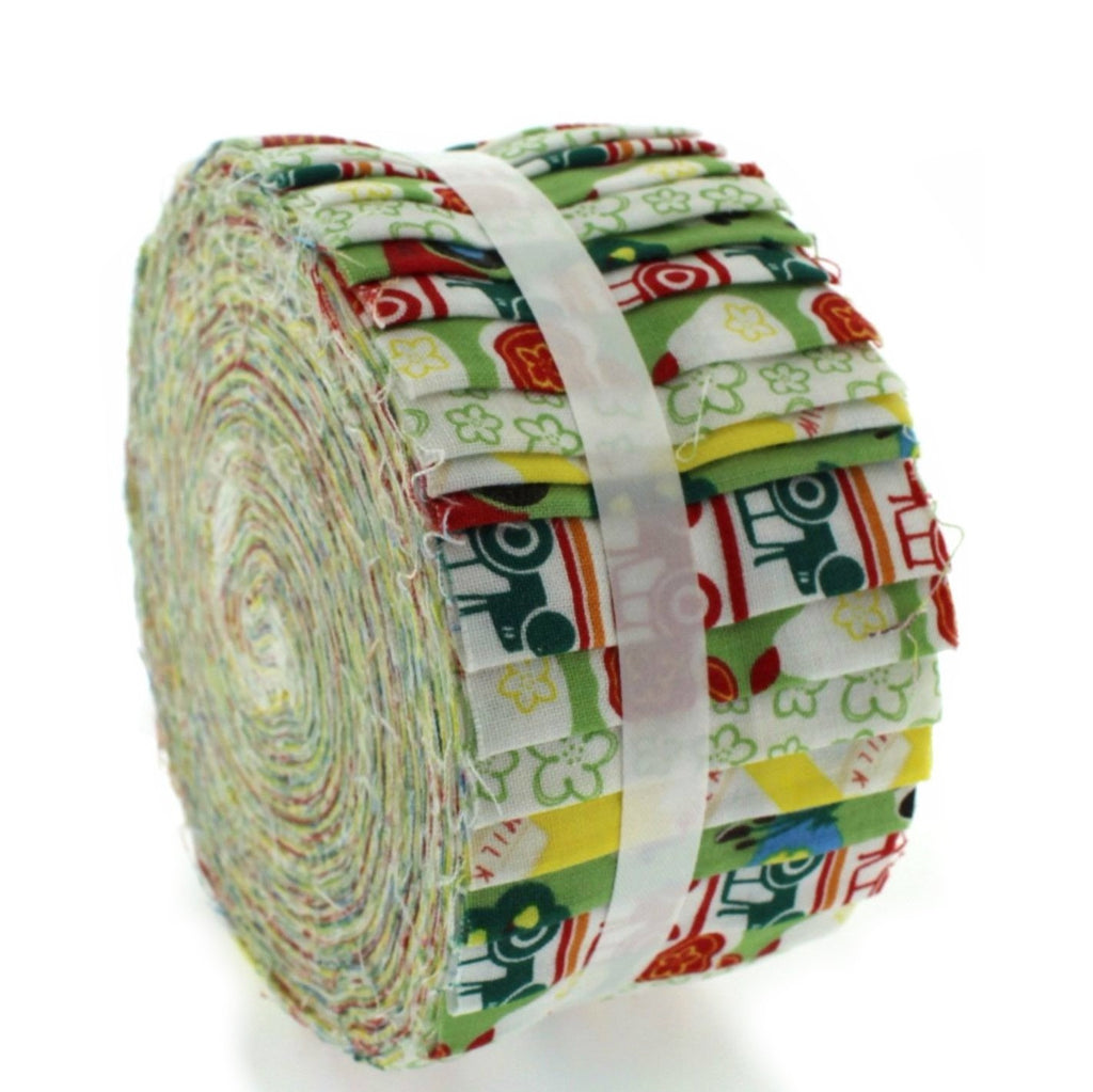 100% Cotton Baby Rolls, Green, Farmyard
