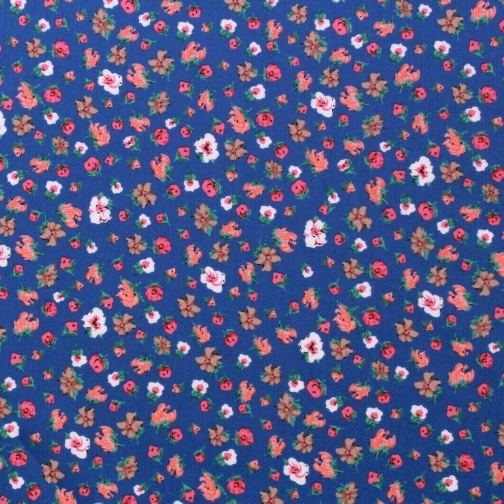 William Morris Inspired Petite Flowers 100% Cotton Lawn Blue