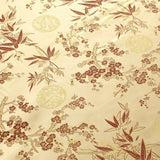 Chinese Brocade With Silk Satin Cherry Blossom Tropical Embroidery Gold