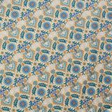 100% Cotton Lawn With Gold Detailing Turquoise On Beige