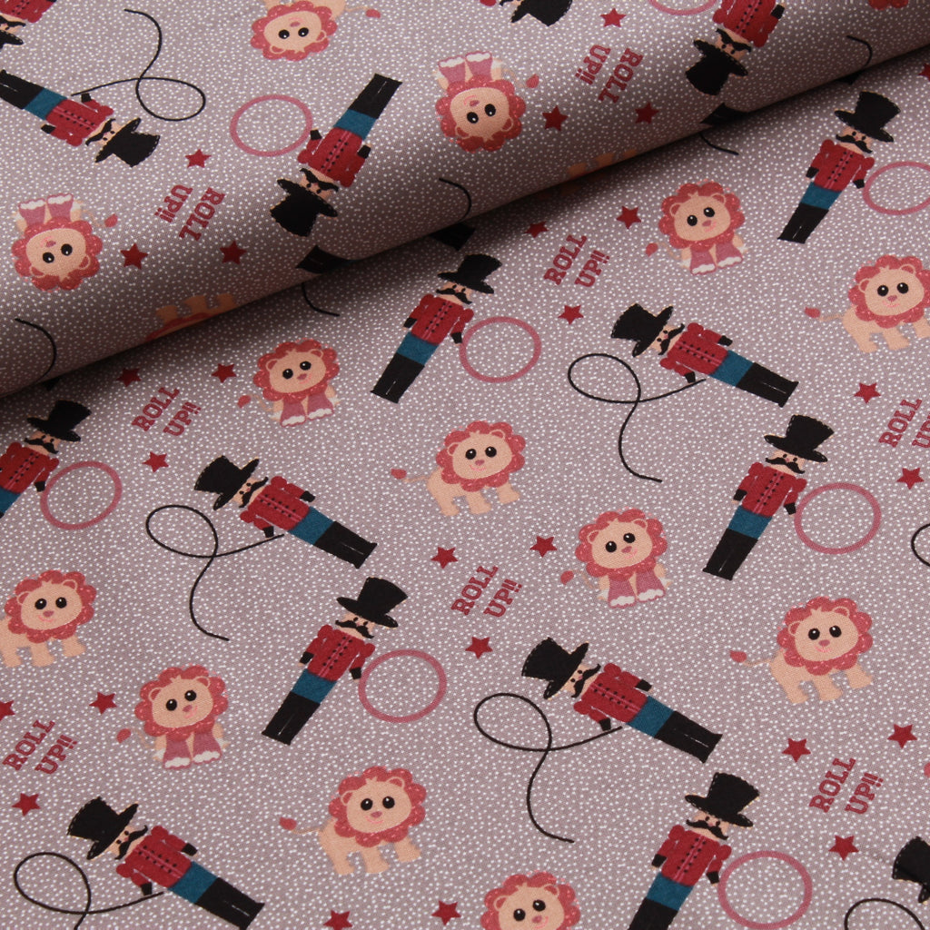 Circus Lion Tamer Quilting Cotton, Beige/Grey, Circus Collection, FF294.3, Premium Cotton