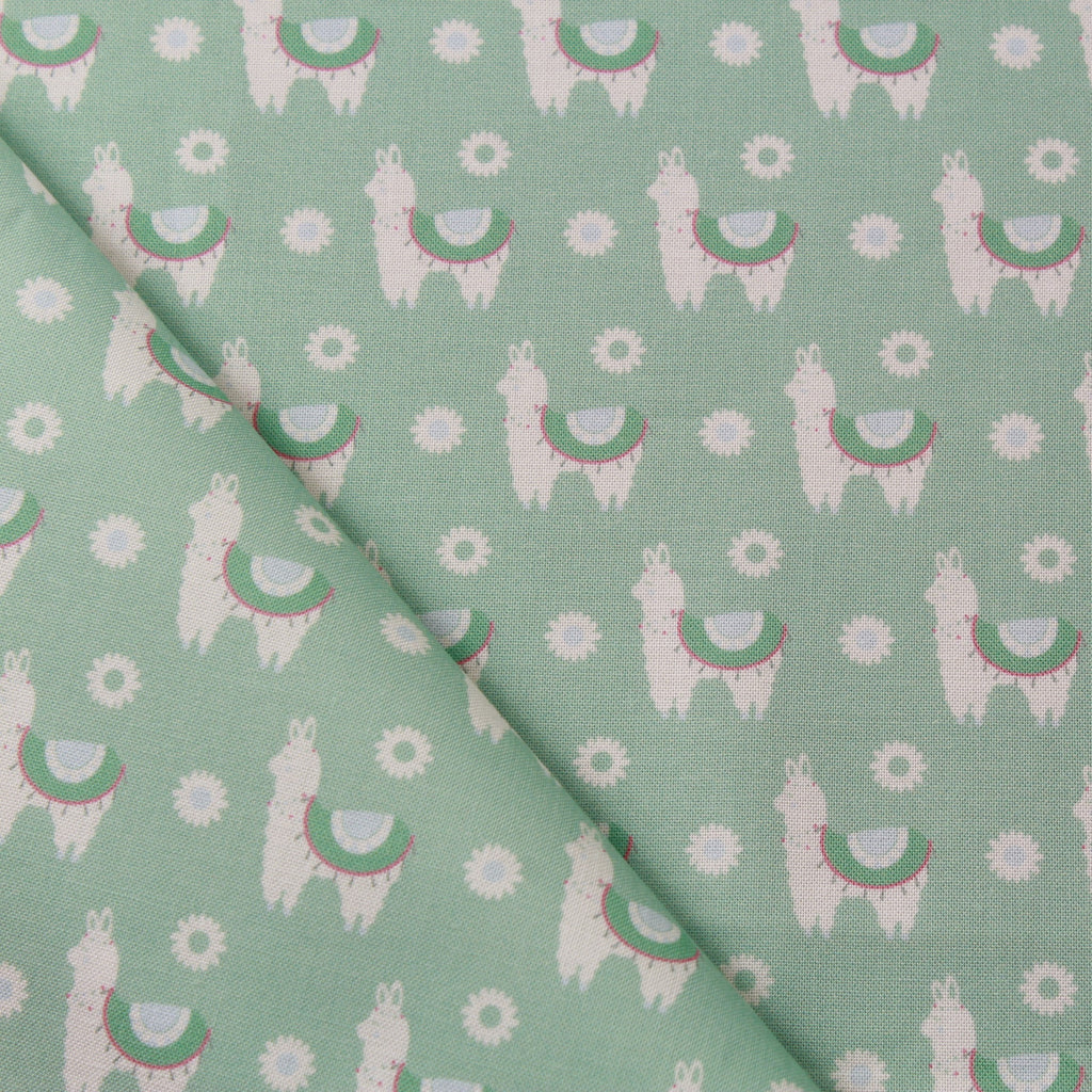 TFG Light Green Quilting Cotton, Llamas, Mexicola FF404.2
