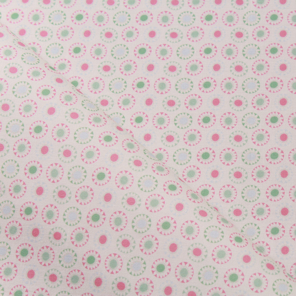 TFG Pink Quilting Cotton, Floral Circles, Mexicola FF408.2