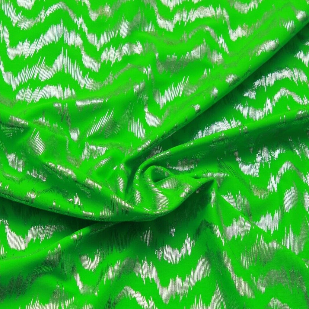 Metallic Print Lycra Green Shockwave