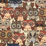 Premium Animal Print Soft Tapestry Fabric Owls
