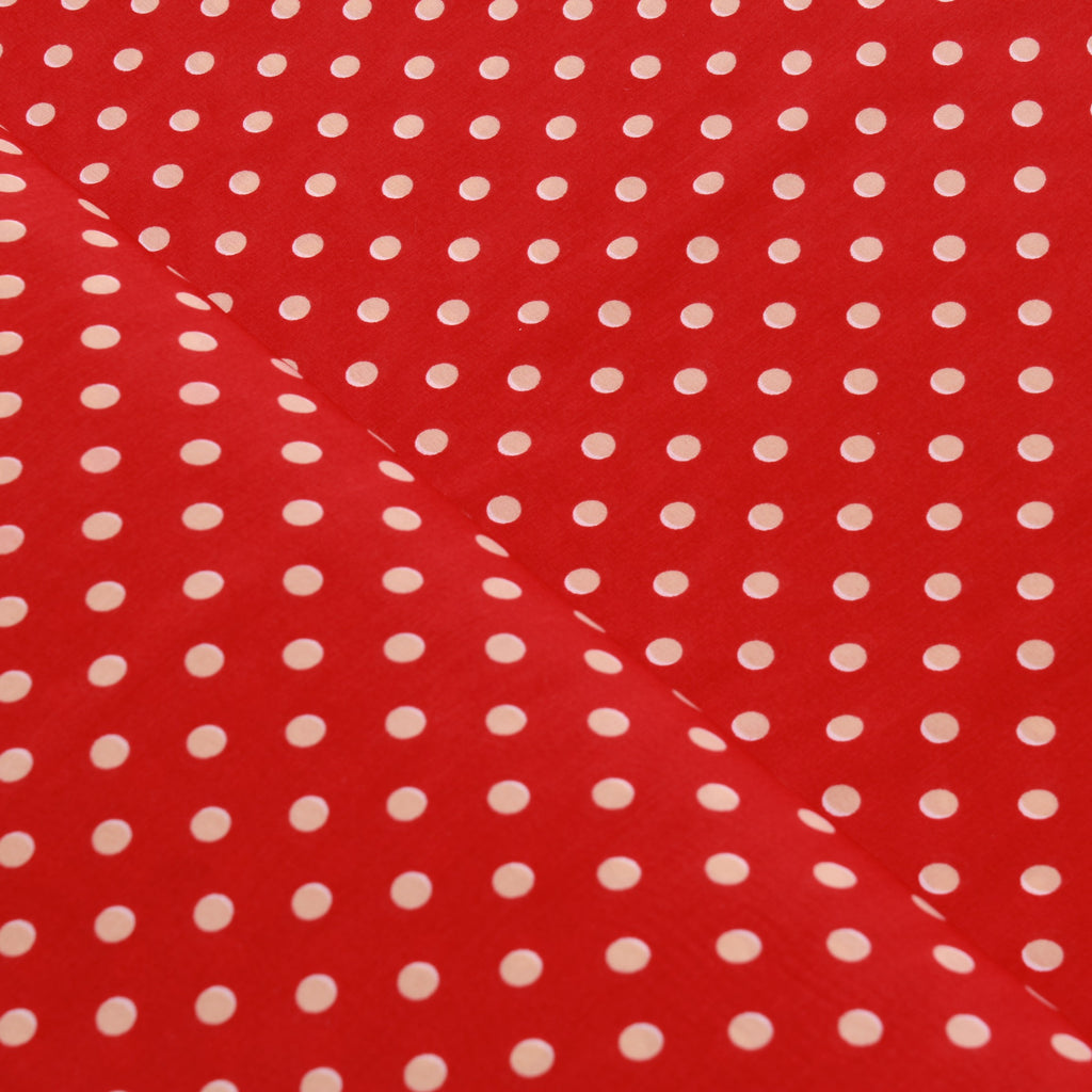 Peachskin Beige Dots on Red, 100% Polyester