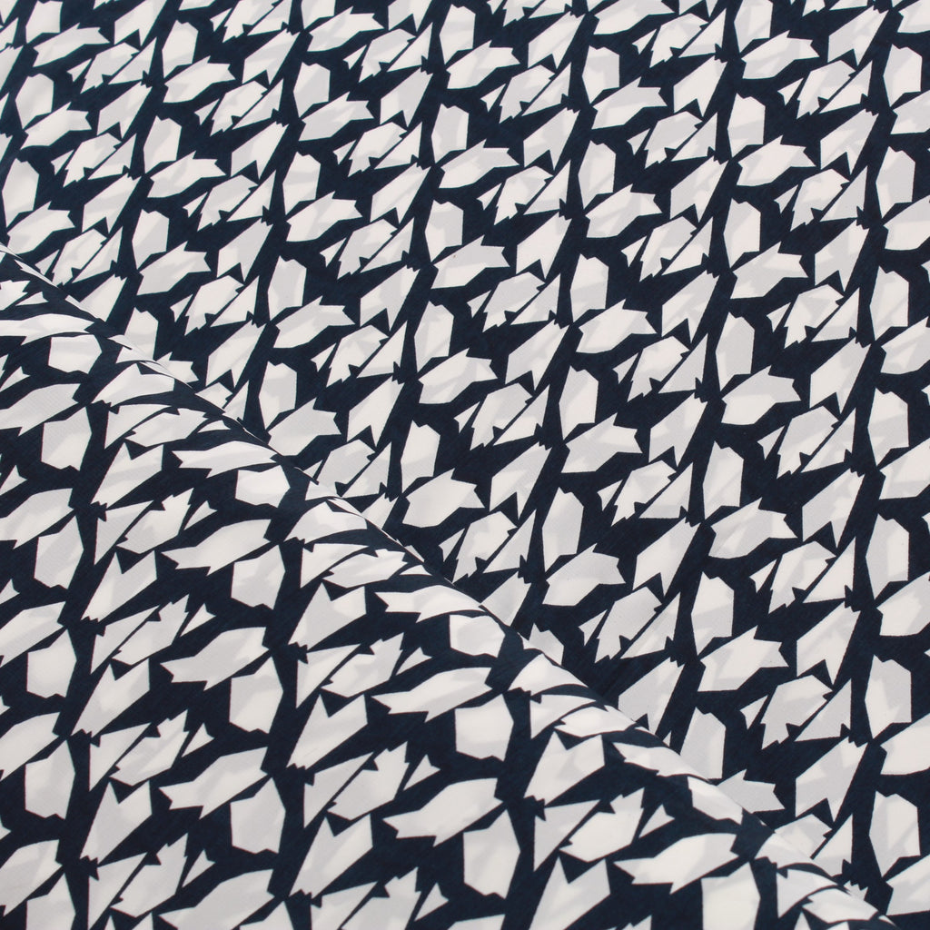 Peachskin Navy Shapes, 100% Polyester