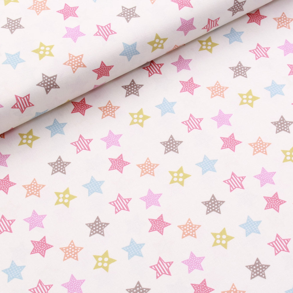 Circus Stars Quilting Cotton, Pastel Colors, Circus Collection, FF297.2, Premium Cotton