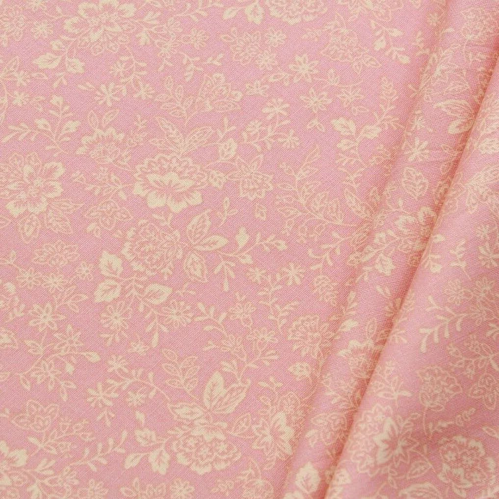 "Pink Floral Leaves/Vines Print Pastels, 100% Premium Quilting Cotton Fabric, 44"" Wide (111cm), 140GSM"