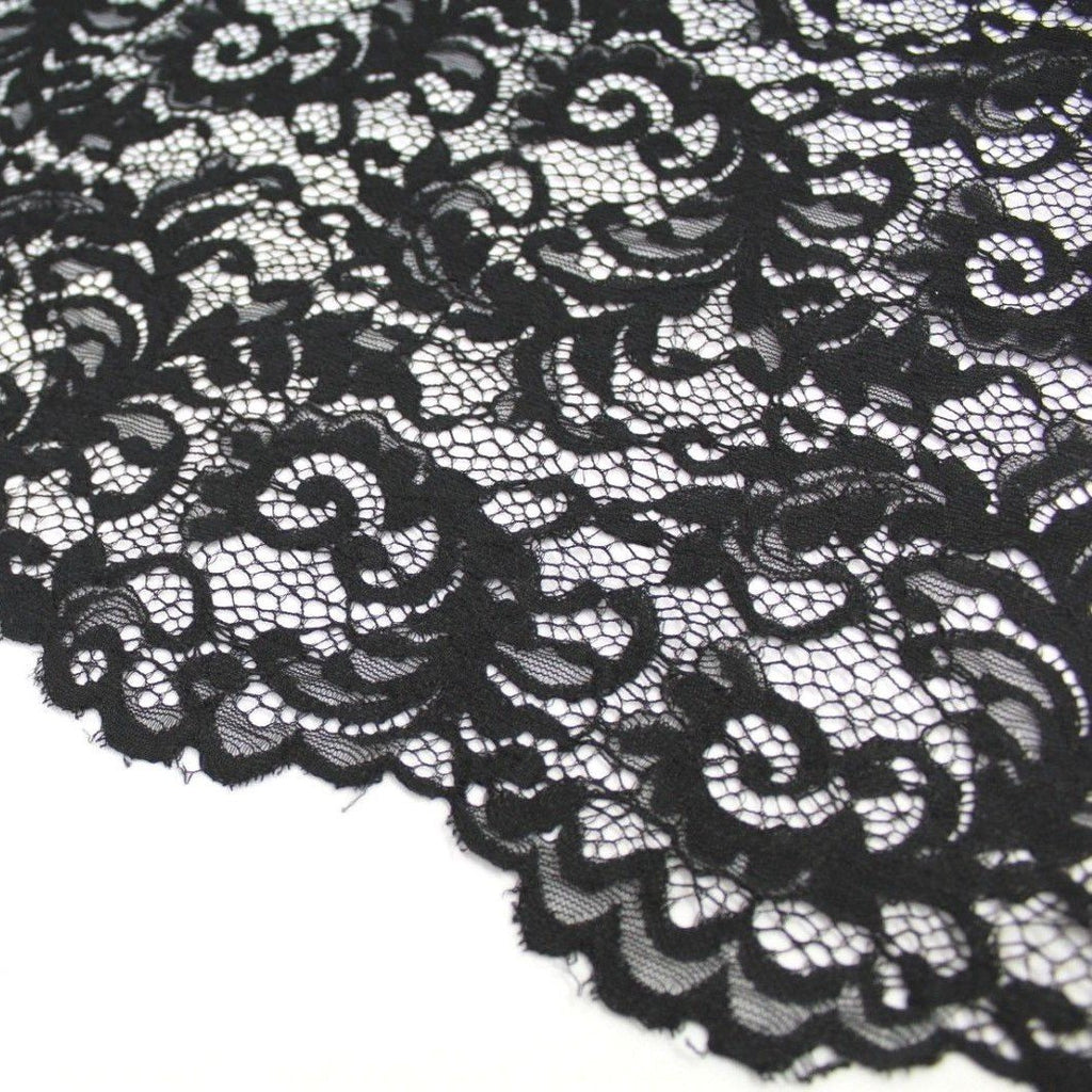 Raschel Corded Lace Black