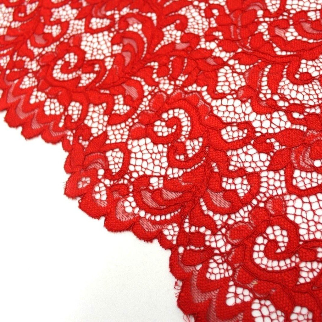 Raschel Corded Lace Red