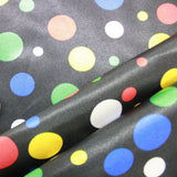 Spots-Black & Multi Poly Satin Liquid Fabric