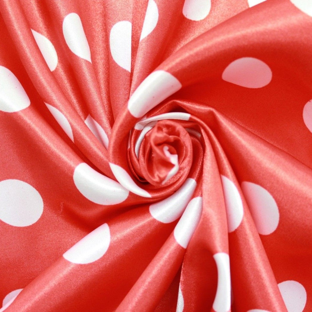 Spots-Red & White Poly Satin Liquid Fabric