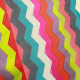 Chevron Printed Satin Stripe Chiffon