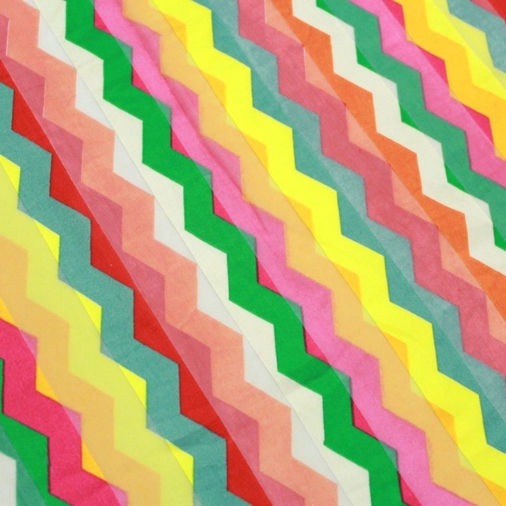 Chevron Printed Satin Stripe Chiffon Multi 2