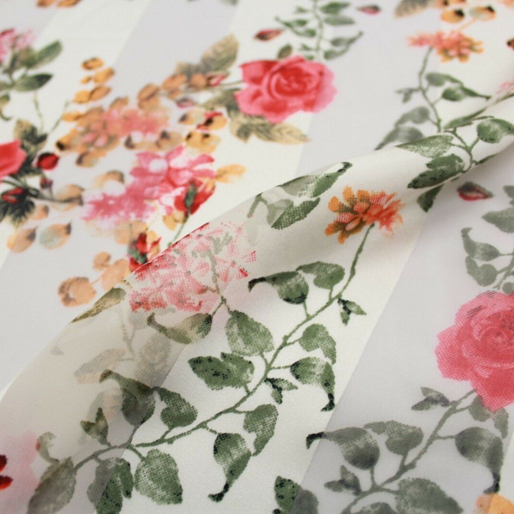 Roses Red Floral Printed Satin Stripe