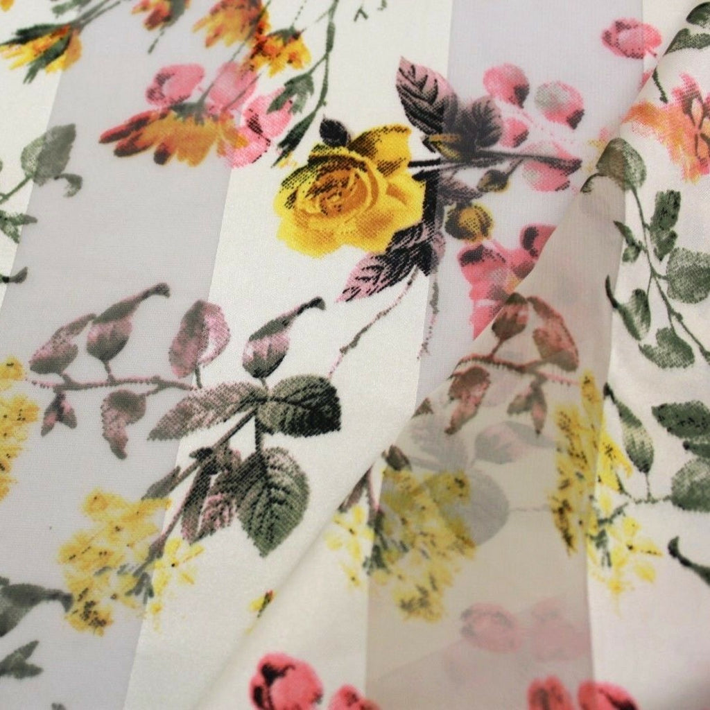 Roses Yellow Floral Printed Satin Stripe