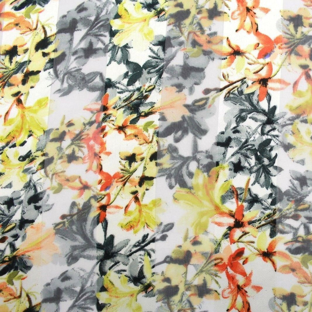 Printed Satin Stripe Chiffon Yellow FGS101/4