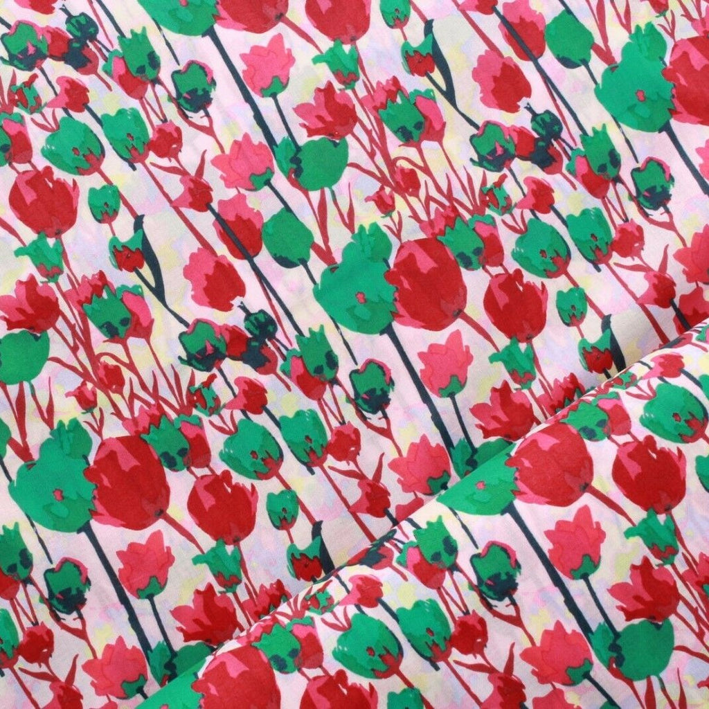 William Morris Inspired Floral Tulips Cotton Lawn