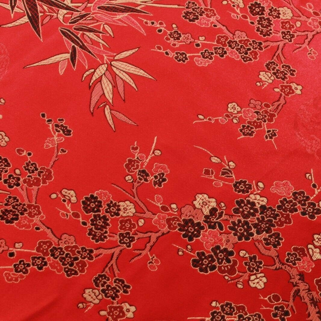 Chinese Brocade With Silk Satin Cherry Blossom Tropical Embroidery