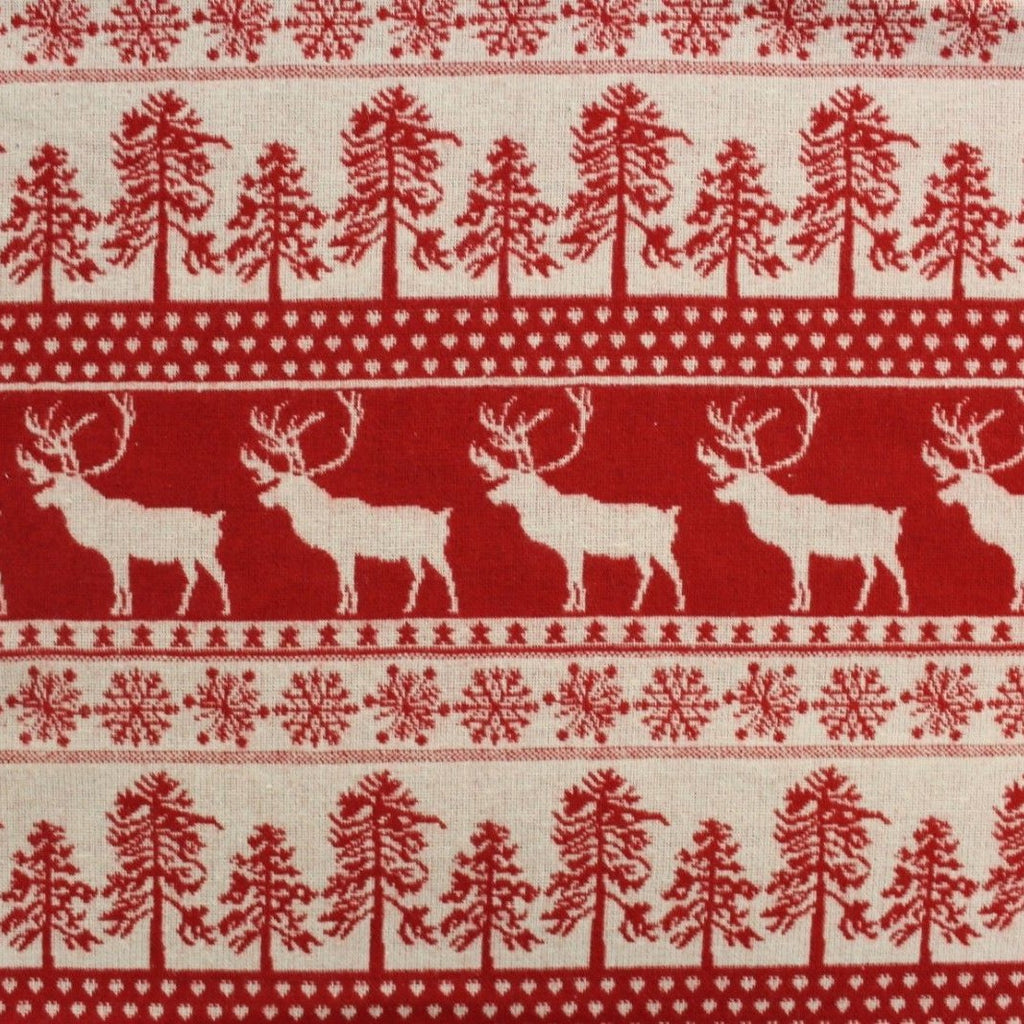 Festive Christmas Wool Fabric Reindeers