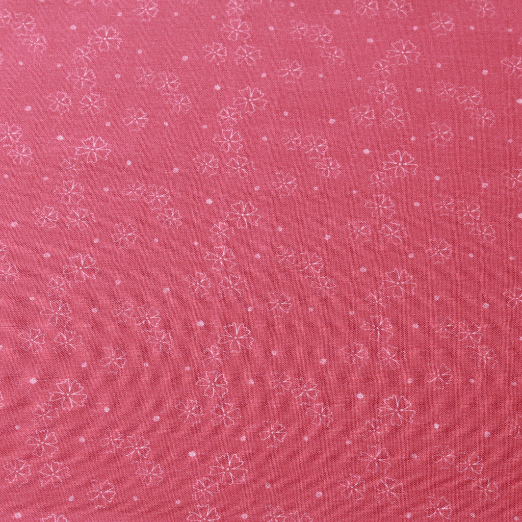 TFG Pink Quilting Cotton, White Floral, Springtime Floral Collection FF403.3