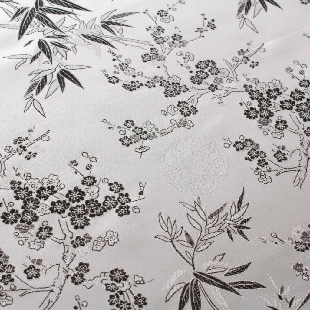 Chinese Brocade With Silk Satin Cherry Blossom Tropical Embroidery Silver