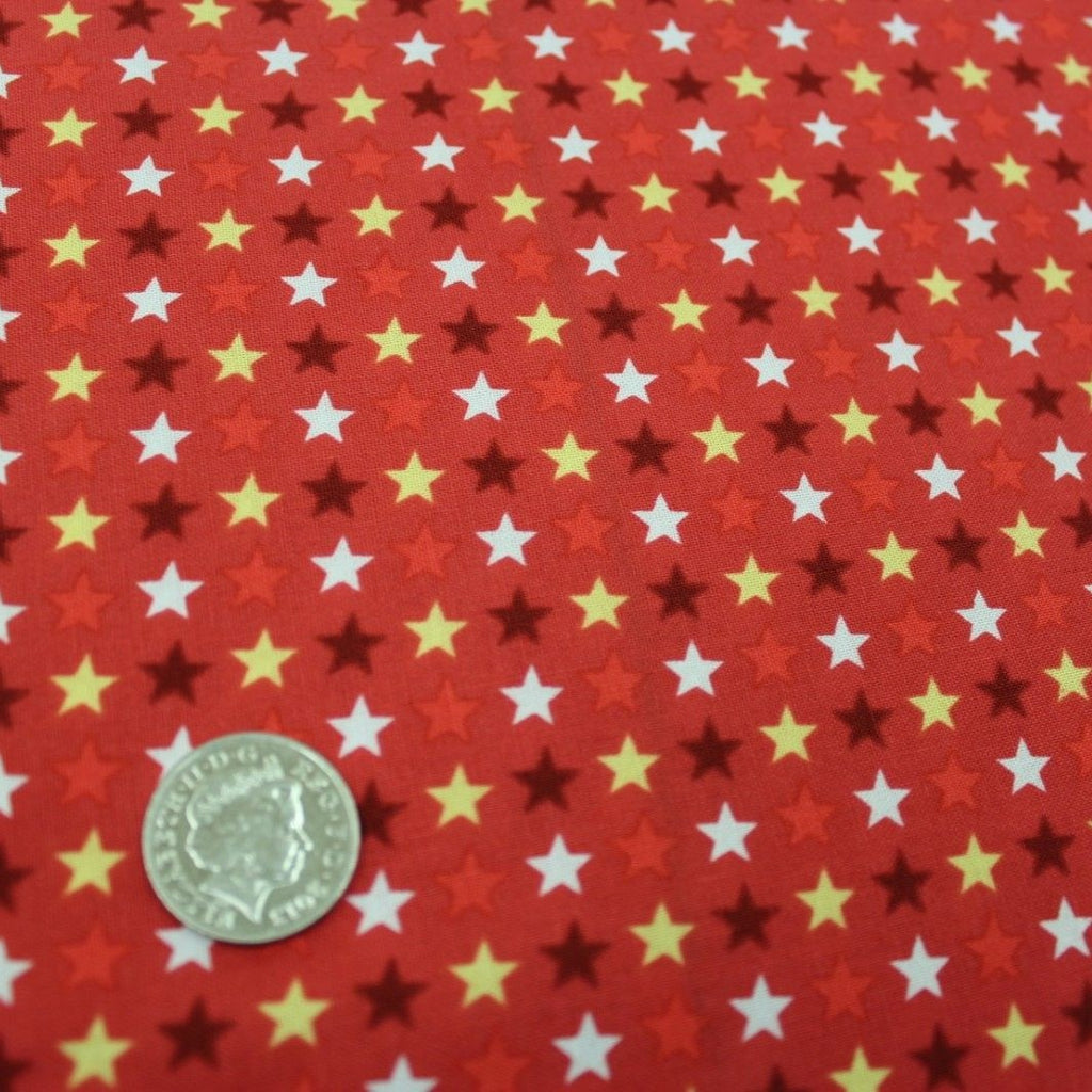 100% Premium Quilting Cotton, Football Range - Red Stars  FF229-2