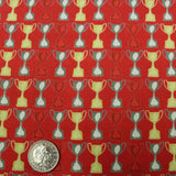 100% Premium Quilting Cotton, Football Range - Red Trophies FF230-2