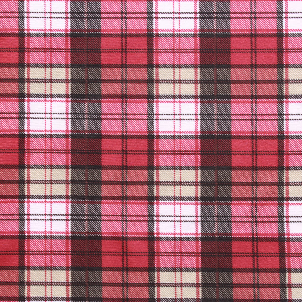 Red Tartan Print, Polyester Fabric, 60""