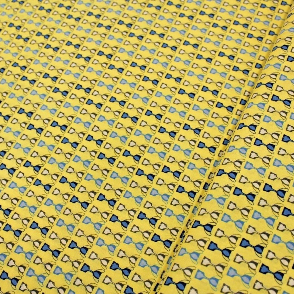 100% Premium Quilting Cotton, Football Range - Blue Trophies on Yellow  FF230-1