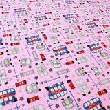 100% Cotton Poplin, A Day in the Capital - Pink